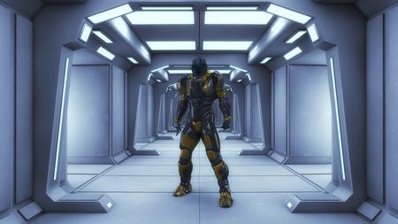3D rendering. Futuristic corridor inside