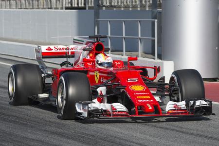vettel: Driver Sebastian Vettel.  Team Ferrari. Formula One Test Days at Circuit de Catalunya. Montmelo, Spain. February 27, 2017 Editorial