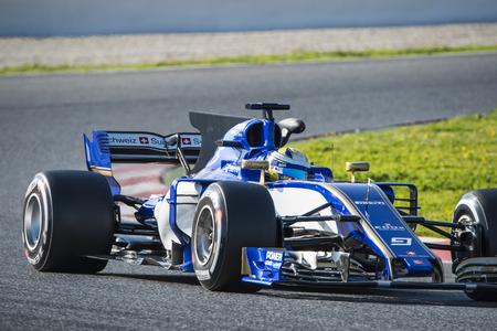 ericsson: Driver Ericsson.  Team Sauber. Formula One Test Days at Circuit de Catalunya. Montmelo, Spain. February 27, 2017