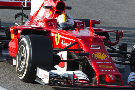 Driver Sebastian Vettel.  Team Ferrari. Formula One Test Days at Circuit de Catalunya. Montmelo, Spain. February 27, 2017 Editorial