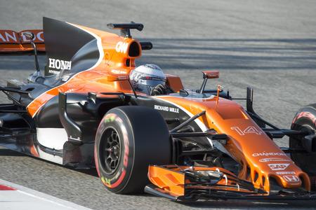 Driver Fernando Alonso.  Team McLaren. Formula One Test Days at Circuit de Catalunya. Montmelo, Spain. February 27, 2017
