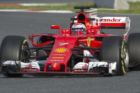Driver Raikkonen.  Team Ferrari. Formula One Test Days at Circuit de Catalunya. Montmelo, Spain. February 28, 2017