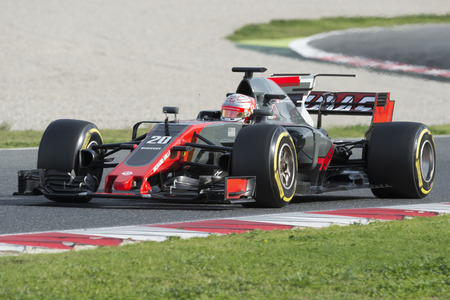 Driver Kevin Magnussen.  Team Haas. Formula One Test Days at Circuit de Catalunya. Montmelo, Spain. February 28, 2017