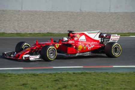 vettel: Driver Sebastian Vettel.  Team Ferrari. Formula One Test Days at Circuit de Catalunya. Montmelo, Spain. March 01, 2017