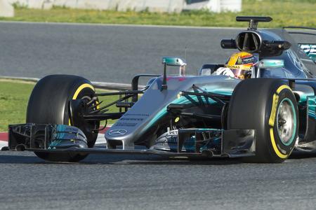 Driver Lewis Hamilton.  Team Mercedes. Formula One Test Days at Circuit de Catalunya. Montmelo, Spain. March 01, 2017 Editorial