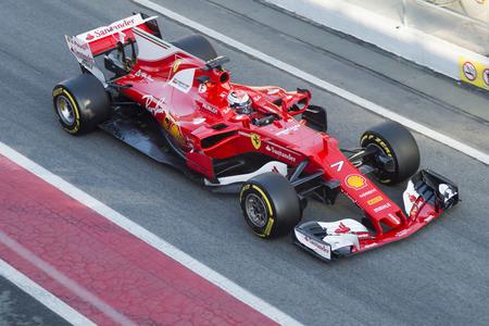 Driver Kimi Raikkonen.  Team Ferrari. Formula One Test Days at Circuit de Catalunya. Montmelo, Spain. March 02, 2017
