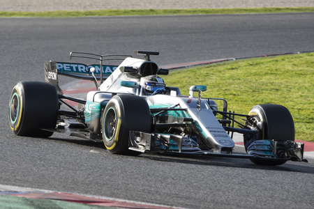 Driver Valtteri Bottas.  Team Mercedes. Formula One Test Days at Circuit de Catalunya. Montmelo, Spain. March 07, 2017