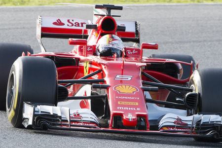 vettel: Driver Sebastian Vettel.  Team Ferrari. Formula One Test Days at Circuit de Catalunya. Montmelo, Spain. March 07, 2017