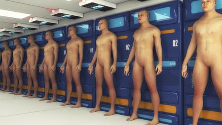 Rendu 3D. Fabrication et clone humain Chambre futuriste Banque d'images - 76085639