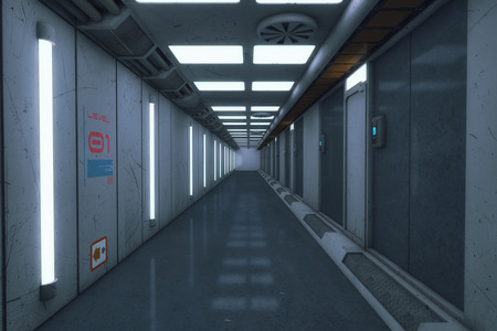 3d rendering. Futuristic architecture background corridor.