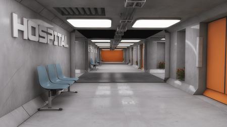 futuristic interior: 3D render. Futuristic interior corridor spaceship