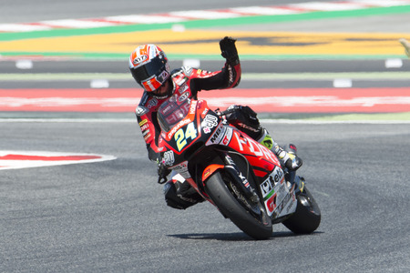Driver SIMONE CORSI. SPEED UP Team. Moto2. Monster Energy Grand Prix of Catalonia MotoGP at Circuit of Catalonia. Barcelona, Spain, June 11, 2017