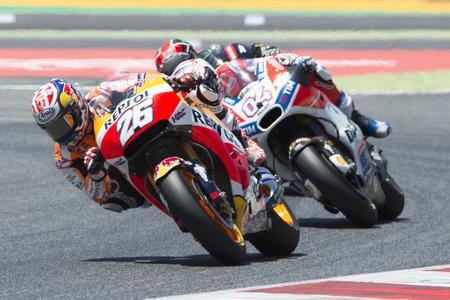 ドライバーのダニ ・ ペドロサ。レプソル ・ ホンダ ・ チーム。カタロニアのカタロニア サーキットで motogp のモンスター エネルギー グランプリ。