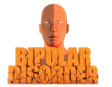 esquizofrenia: Human figure and 3d bipolar disorder text