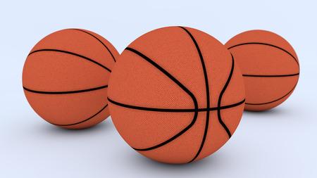 3D render. Three basketballs on the floor Stock Photo