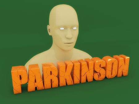 3d head and Parkinson text Stock Photo