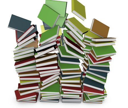 3d render. Many stacked colored books falling