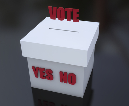 Ballot box to vote yes yes and no Banco de Imagens - 82609092