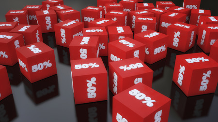 3d rendering. Cube discounts on the floor