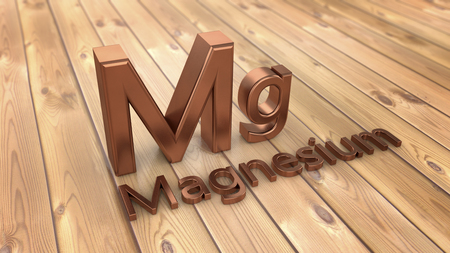 3d rendering. Word magnesium and parquet floor Stock Photo