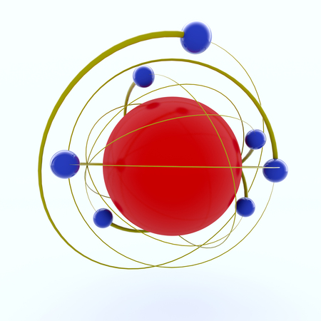 3d rendering. Atom and particles concept Stock Photo