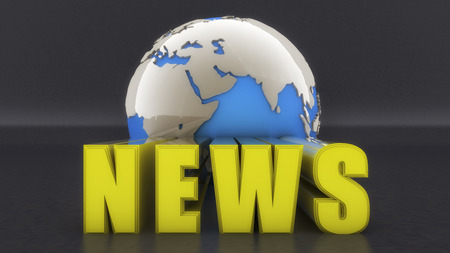 3d rendering. 3d text news and world globe