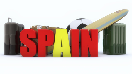 3d rendering. Spain 3d text and Suitcases and ball