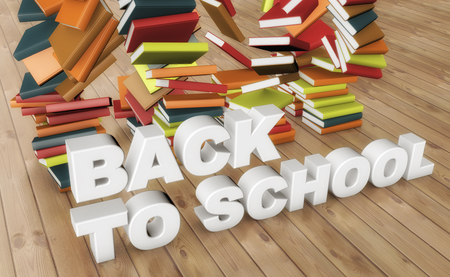 3d rendering. Back to school text and books Stock Photo
