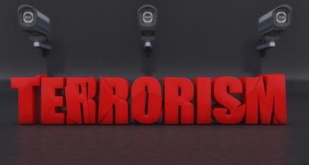 3d rendering. Stop terrorism 3d signal