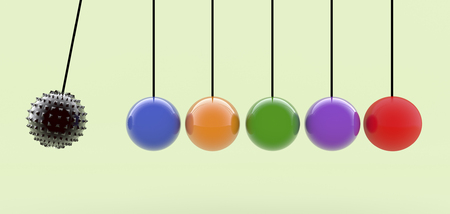 3d rendering. Ball and pendulum balls Stock Photo