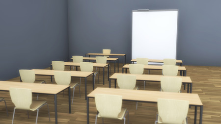 3d rendering. Classroom and whiteboard