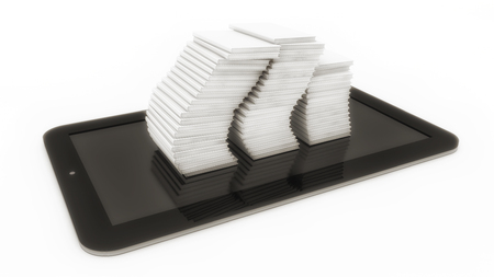 3d rendering tablet and books