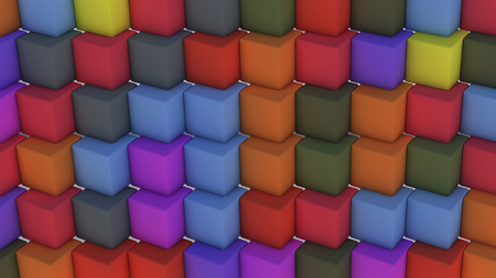 3d rendering. Abstract background with cubes of different colors