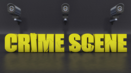 3d rendering. Crime scene text and security cameras