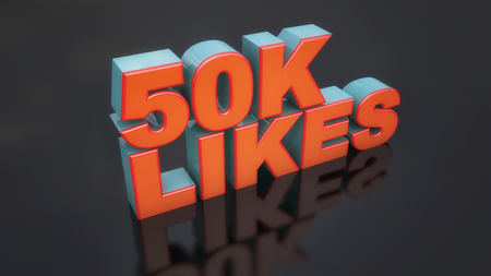 likes: 3d rendering. 3d likes text and black floor Stock Photo