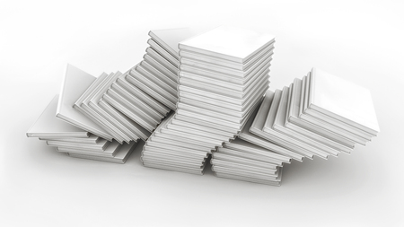 3d render. Many stacked books falling Stock Photo