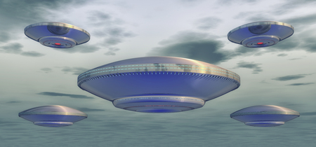 3d rendering. Futuristic unidentified flying object Stock Photo