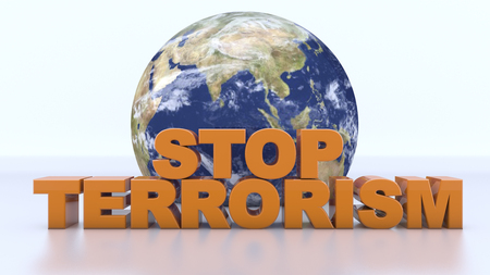3d rendering. Stop terrorism text and world map Banco de Imagens