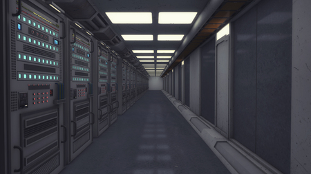 3d rendering. Futuristic corridor and render computers
