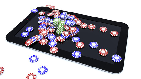 3d rendering. Tablet and casino game chips
