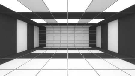 3d rendering. Futuristic interior design background