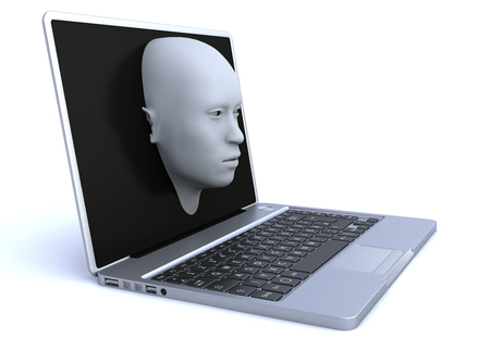 3d rendering. Laptop and 3d head coming out of the screen
