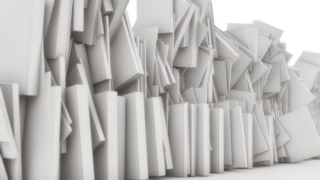 3d rendering. Many stacked books falling Stock Photo