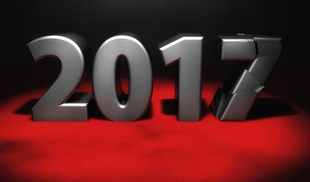 3d rendering. Breaking Year 2017 Stock Photo