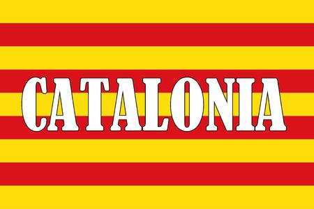 Catalonia flag, Spain, and Catalonia word illustration