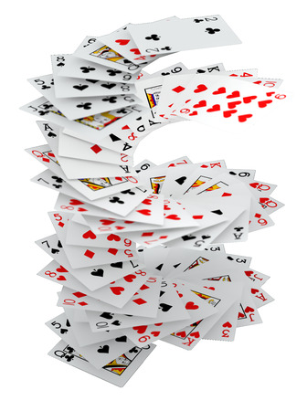 3d rendering poker cards falling