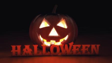 3d rendering. Illuminated halloween pumpkin