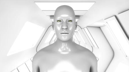 3d rendering. Humanoid figure in a futuristic interior