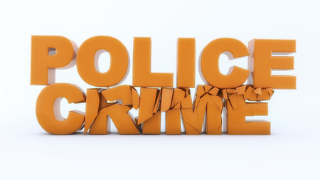 3d rendering. Police crime text and white background