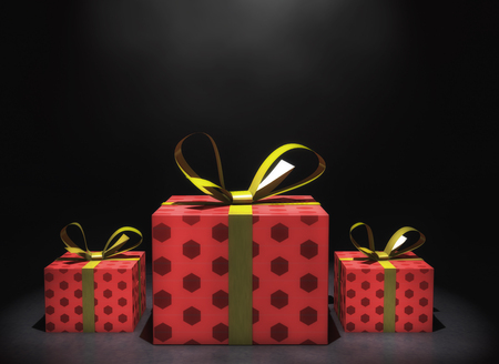 3d rendering. Three gift boxes and black background